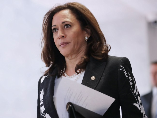 Sen. Kamala Harris heads to a closed-door meeting of the Senate Intelligence Committee on Capitol Hill. Photo: Chip Somodevilla/Getty