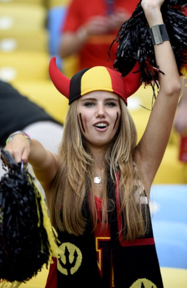 Axelle Despiegelaere cheers on the Belgian team during their World Cup match against Russia in Rio de Janeiro on June 22. Photo: Martin Bureau.