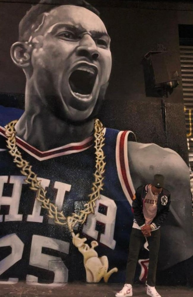 Ben Simmons and his kangaroo chain were made into a street mural.