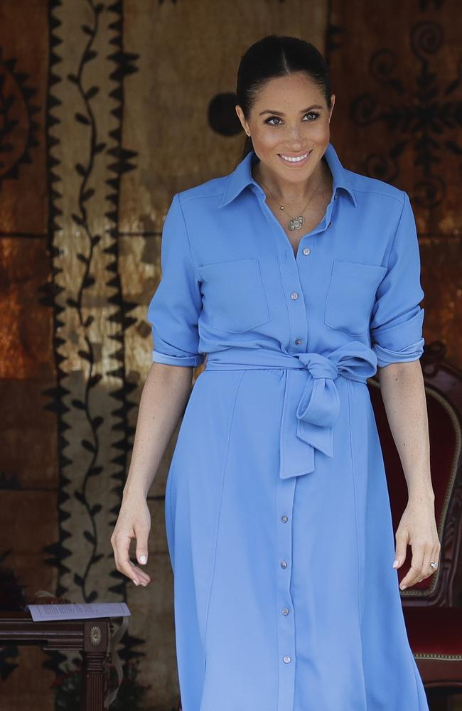 Meghan, Duchess of Sussex smiles during a visit to Tupou College in Tonga, Friday, Oct. 26, 2018.