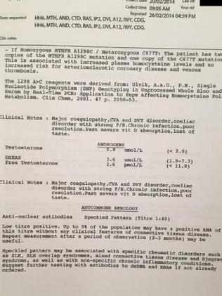 A pathology document showing some of Kathleen's test results. Source:Supplied