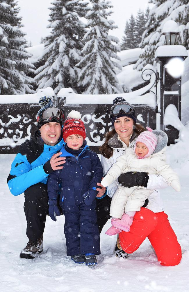 Catherine, Duchess of Cambridge and Prince William, Duke of Cambridge , pose with their children, Princess Charlotte and Prince George during a private break skiing at an undisclosed location in the French Alps on March 3, 2016. Picture: WPA Pool/Getty
