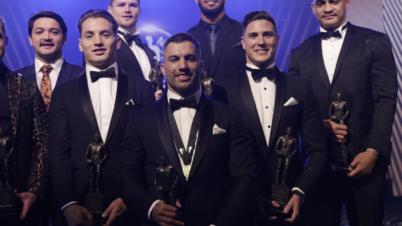 James Tedesco poses with the Dally M team of the year.