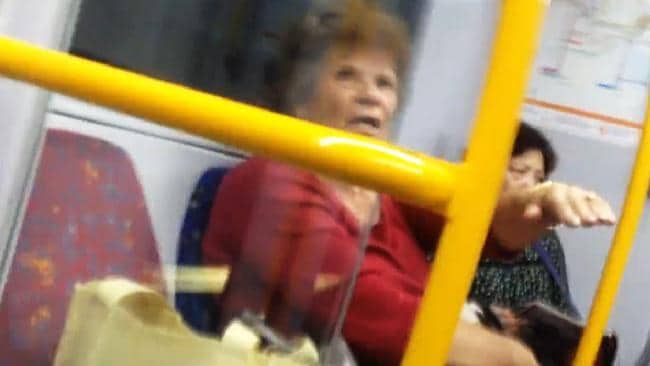 Video still of a woman who carried on with a racist tirade against a Muslim woman on a Sydney train. Picture: Facebook / Stacey Eden
