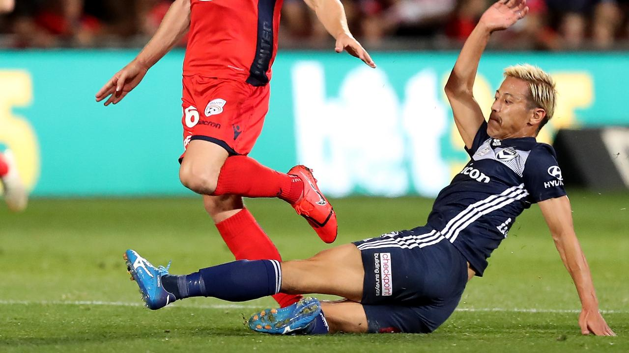 Keisuke Honda was lucky not to be sent off for a high boot.