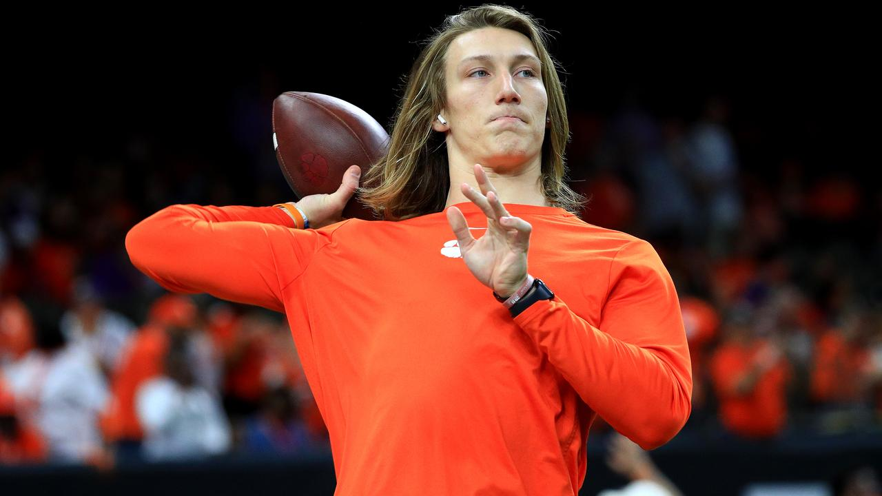 Trevor Lawrence of the Clemson Tigers warms up prior to the College Football Playoff National Championship game.