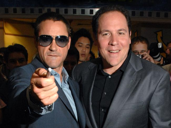 Downey Jr and the man who took a chance on him more than ten years ago, Jon Favreau, at the Australian premiere of Iron Man in 2008.