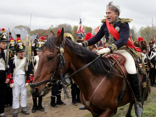 Oleg Sokolov, one of Russia's foremost specialists of the 19th-century European history, during the re-enactment of the 1812 battle between Napoleon's army and Russian troops. Picture: AFP
