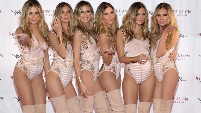 Five lucky models got to be mistaken for Heidi Klum for an entire night in 2016. Picture: Getty Images.