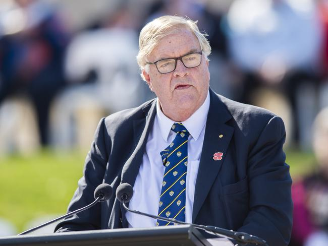 Kim Beazley gives a commemorative address at the National Ceremony at the Australian War Memorial in Canberra. Picture: AAP Image/Rohan Thomson