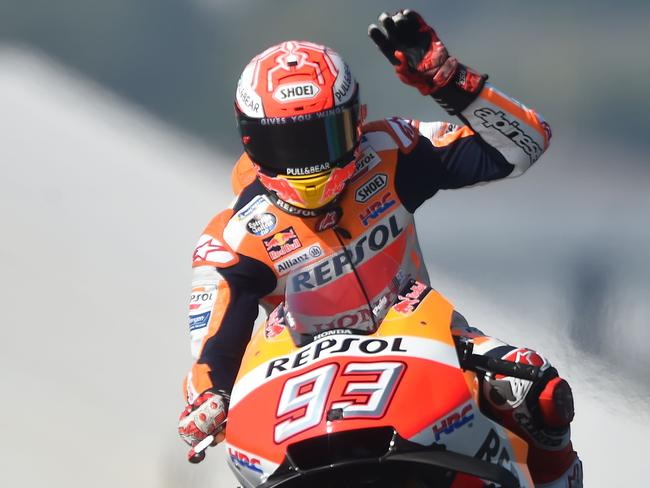 Repsol Honda Team's Spanish rider Marc Marquez has taken out the French MotoGP to extend his lead to 36 points in the championship. Picture: AFP