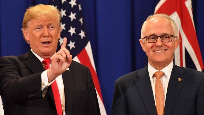 Mr Trump and Mr Turnbull recently spent time together during the Association of South East Asian Nations (ASEAN) forum in Manila. Picture: AAP