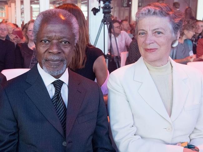 Kofi Annan with his wife Nane, a Swedish lawyer who he married in 1984. Picture: MEGA