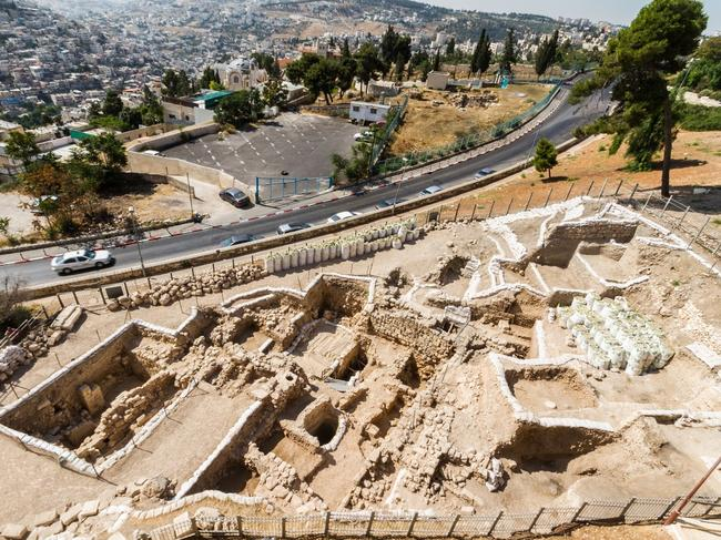 The excavation site, a wedge of land between Jerusalem's Tower of David citadel and a busy highway. Picture: Mount Zion Archaeological Project.