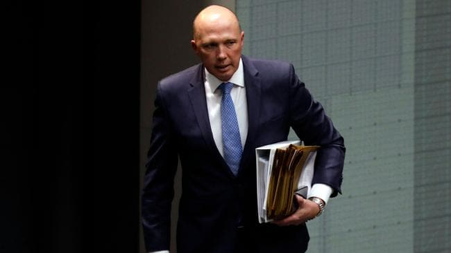 Home Affairs Minister Peter Dutton has suffered in the polls since his unsuccessful coup and holds his Queensland seat on thin margin. Picture: AFP
