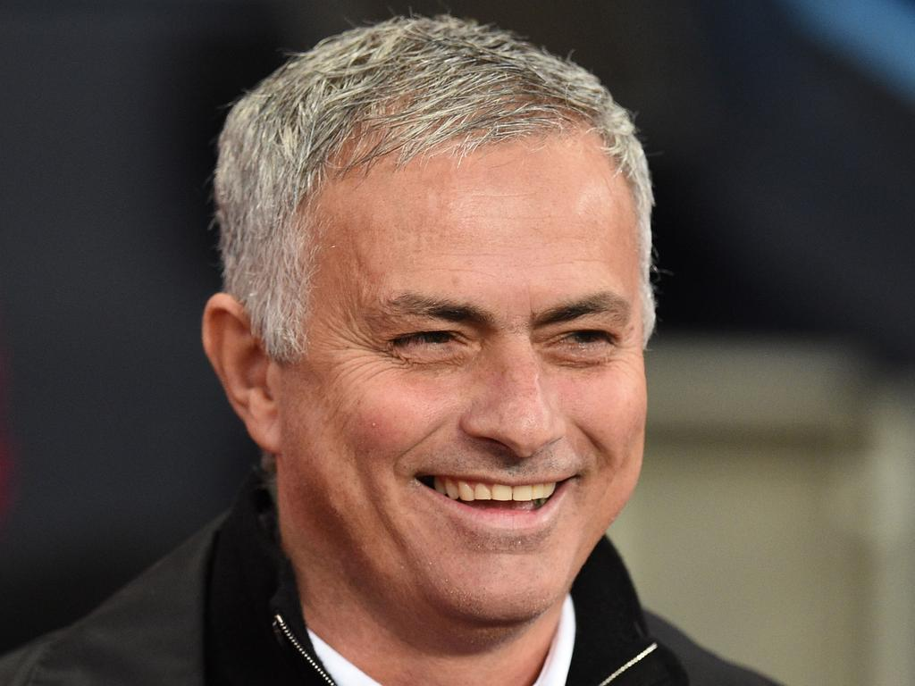 Manchester United's Portuguese manager Jose Mourinho smiles before the English Premier League football match between Manchester City and Manchester United at the Etihad Stadium in Manchester, north west England, on November 11, 2018. (Photo by Oli SCARFF / AFP) / RESTRICTED TO EDITORIAL USE. No use with unauthorized audio, video, data, fixture lists, club/league logos or 'live' services. Online in-match use limited to 120 images. An additional 40 images may be used in extra time. No video emulation. Social media in-match use limited to 120 images. An additional 40 images may be used in extra time. No use in betting publications, games or single club/league/player publications. /