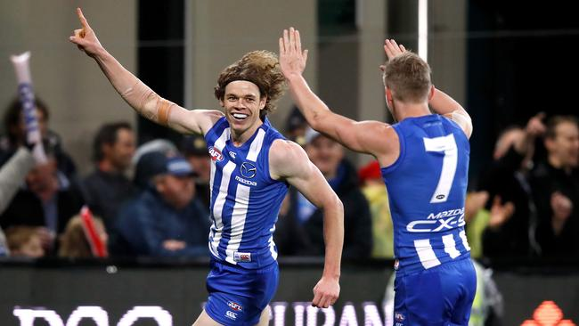 Ben Brown celebrates a goal with Jack Ziebell. (Photo by Adam Trafford/AFL Media/Getty Images)