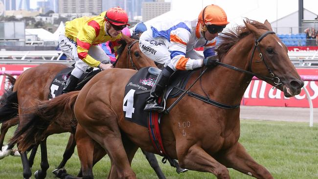 Kerrin McEvoy continued his good from this spring with victory on Aspect in the Maribyrnong Plate. Picture: Wayne Ludbey
