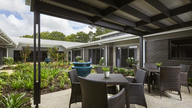The outdoor space at Narangba Aged Care.