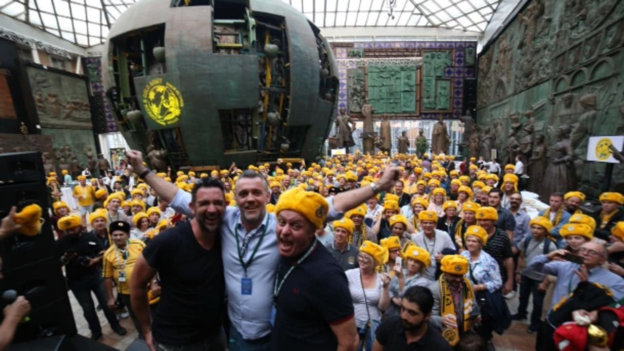 Ned Zelic, Simon Hill and Francis Leach at the official Green & Gold Army welcome party.