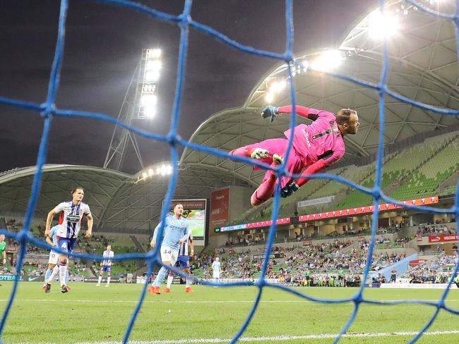 Jack Duncan of the Jets jumps to save the ball during the Round 18 A-League match at AAMI Park. Picture: Getty Images