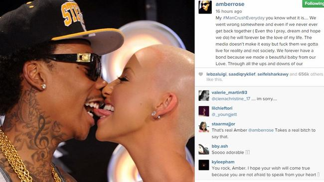 Plea ... Amber Rose shared a flashback photo with a heartbreaking message for Wiz Khalifa. Picture: Amber Rose/Instagram