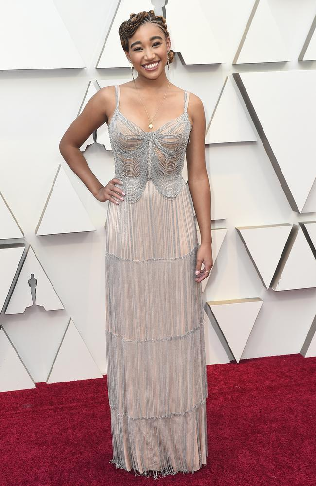 Amandla Stenberg arrives at the Oscars. Picture: Jordan Strauss/Invision/AP