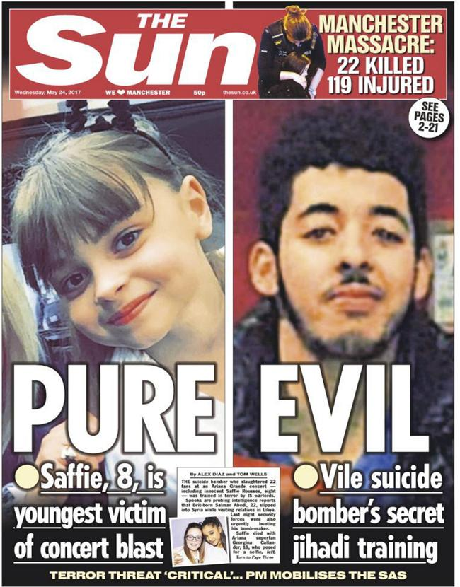 Manchester suicide bomber Salman Abedi is pictured on the cover of UK paper The Sun. Picture: The Sun