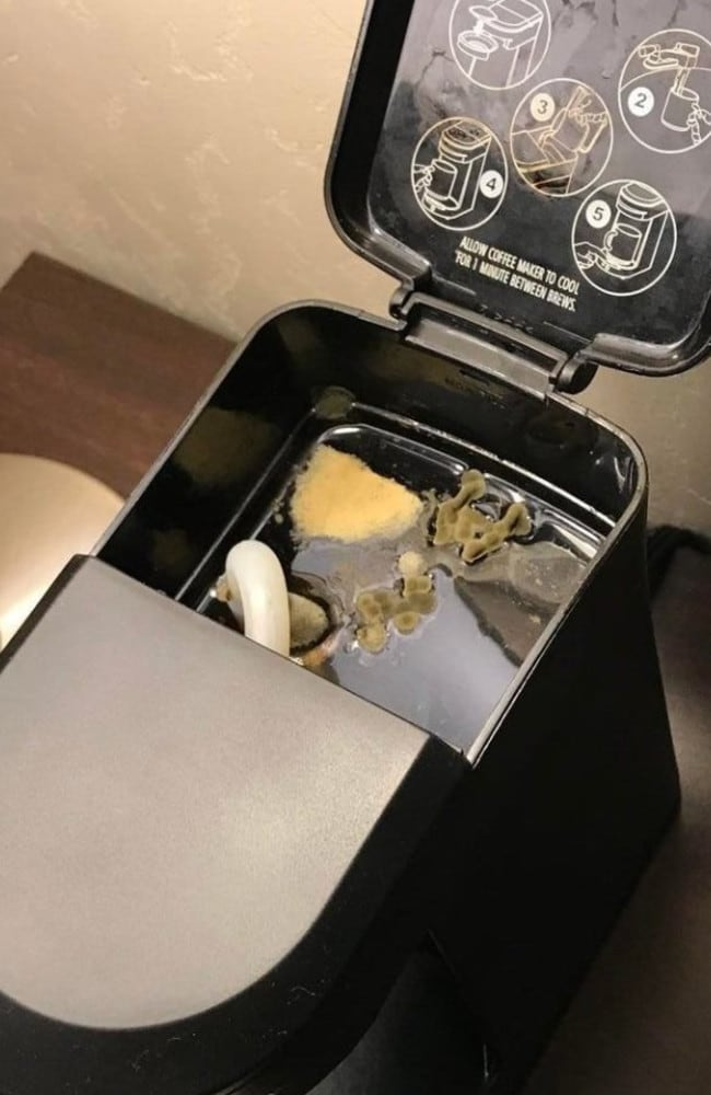 A hotel guest was disgusted to find mould and fungus in his coffee machine. Picture: Reddit