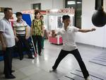A North Korean man hits a punch bag in an amusement arcade at Kaeson Youth Park on August 19, 2018 in Pyongyang. Picture: Carl Court/Getty Images