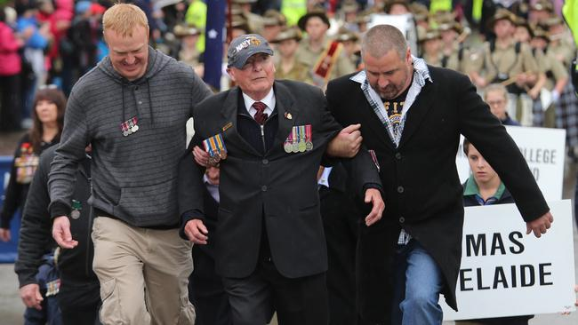 Emotional day ... the march at Melbourne's Shrine of Rememberance. Picture: Alex Coppel