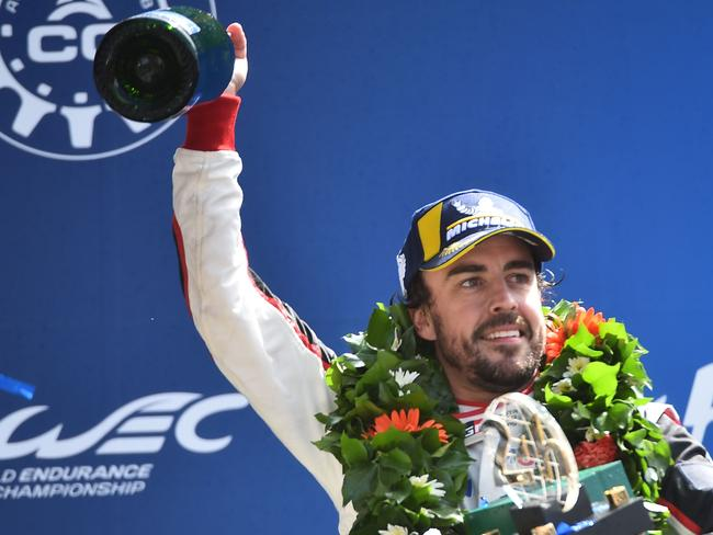 Fernando Alonso celebrates after winning the 86th Le Mans 24-hour endurance race in June. Picture: AFP