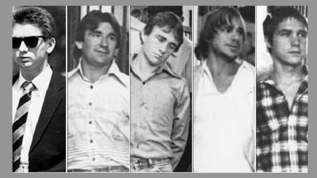 Five men who murdered Anita Cobby in 1986. From left: John Travers, Michael Murphy, Leslie Murphy, Gary Murphy and Michael Murdoch. Image: News Corp Australia.