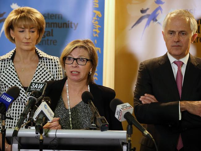 Prime Minister Malcolm Turnbull making a major domestic violence announcement with Minister for Women Michaelia Cash and Rosie Batty. Picture: Alex Coppel