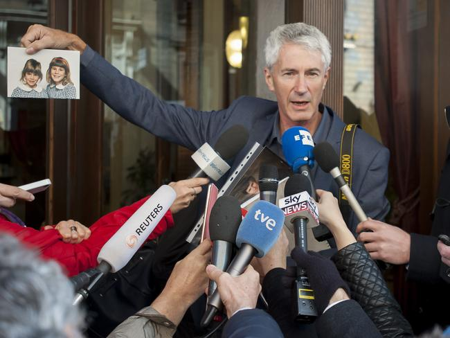 Anthony Foster, talks to the press after abuse survivors met Cardinal George Pell in the Hotel Quirinale, Rome, after Pell gave evidence to the The Royal Commission into Institutional Responses to Child Sexual Abuse. Picture by David Mirzoeff /i-Images
