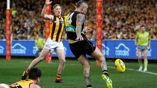 Richmond's Dustin Martin kicks a remarkable goal from the boundary during the final against Hawthorn. Picture: Getty Images