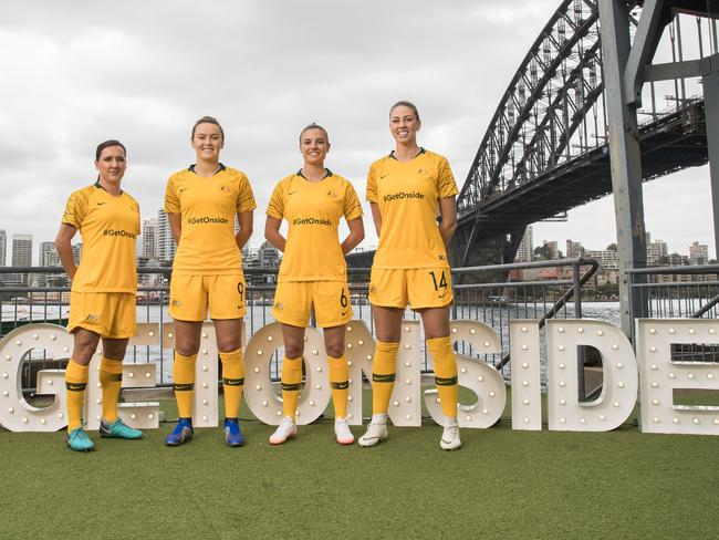 Matildas Lisa De Vanna, Chloe Logarzo, Caitlin Foord and Alanna Kennedy pose at the launch of AusBid2023.com, the official website to submit registrations of support for Australias FIFA Womens World Cup 2023 bid.