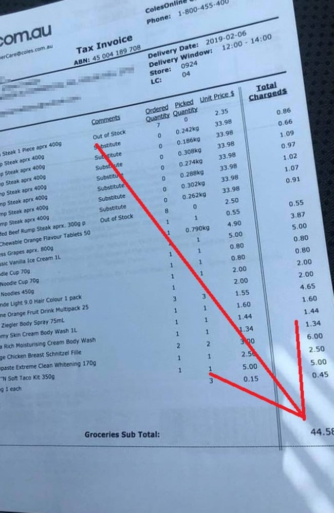 One lucky customer who bought eight rump steaks among other grocery items only paid $44.58 for the whole order. Source: Facebook