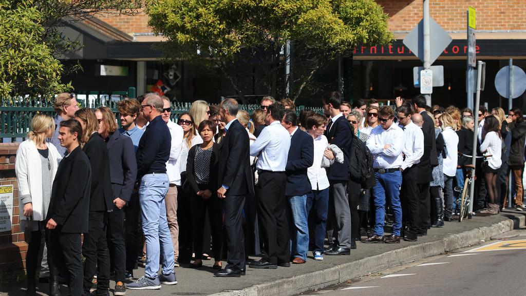 Mourners attend the funerals of Ben Sawyer, Lachlan Burleigh