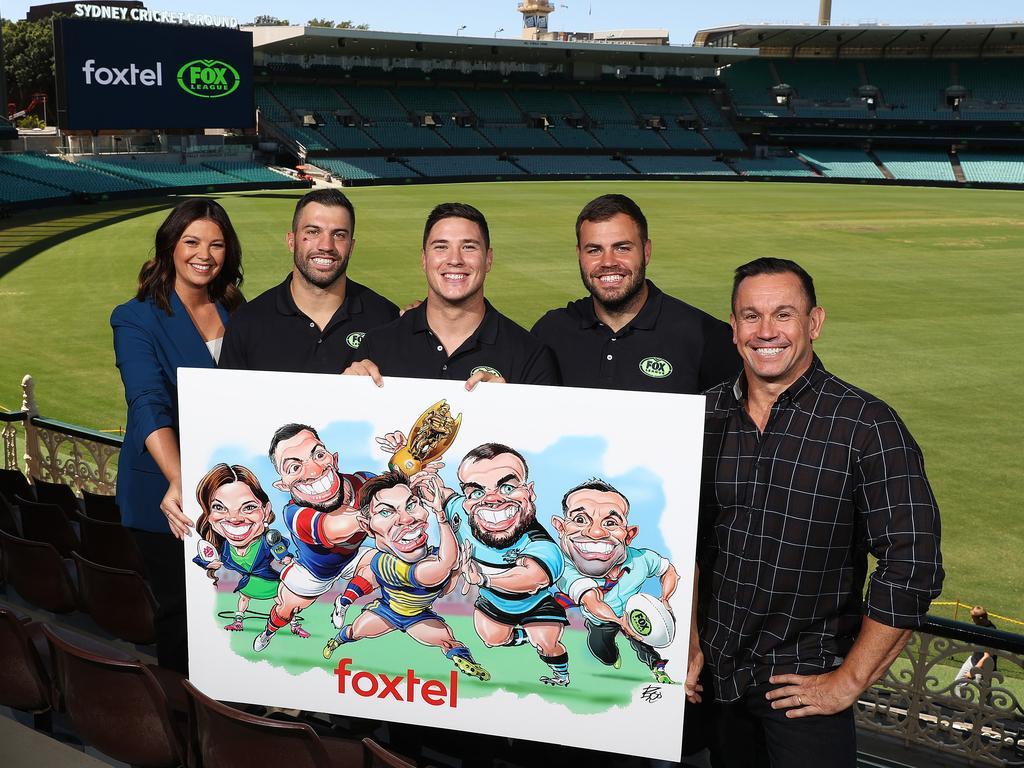Yvonne Sampson, James Tedesco, Mitchell Moses, Wade Graham and Matty Johns at the 2020 Fox League launch.