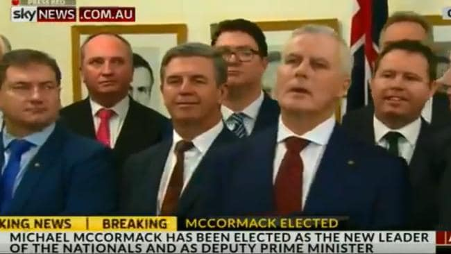 Mr Joyce reacts to the question over the party's future leadership. Picture: Screengrab/Sky News
