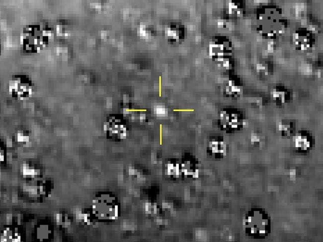 Kuiper Belt object nicknamed Ultima Thule, indicated by the crosshairs at centre, is the farthest known object in the solar system. Picture: NASA/AP