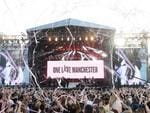Singer Ariana Grande, onstage in white, performs at the One Love Manchester tribute concert in Manchester, north western England, Sunday, June 4, 2017. One Love Manchester is raising money for those affected by the bombing at the end of Ariana Grande's concert in Manchester on May 22, 2017. Picture: Dave Hogan via AP