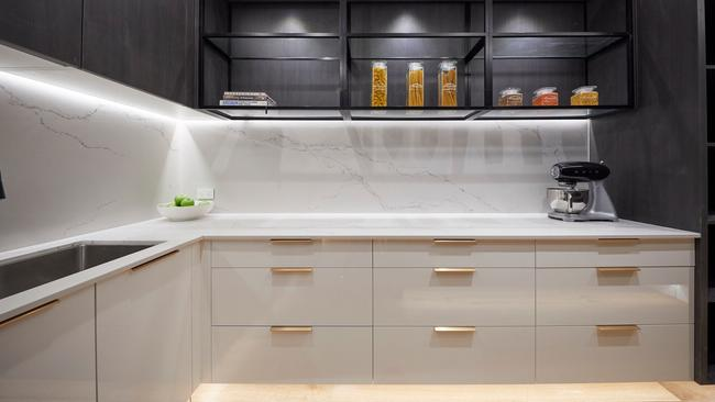 Shaynna love the brass handles throughout the kitchen and butler's pantry. Source: The Block