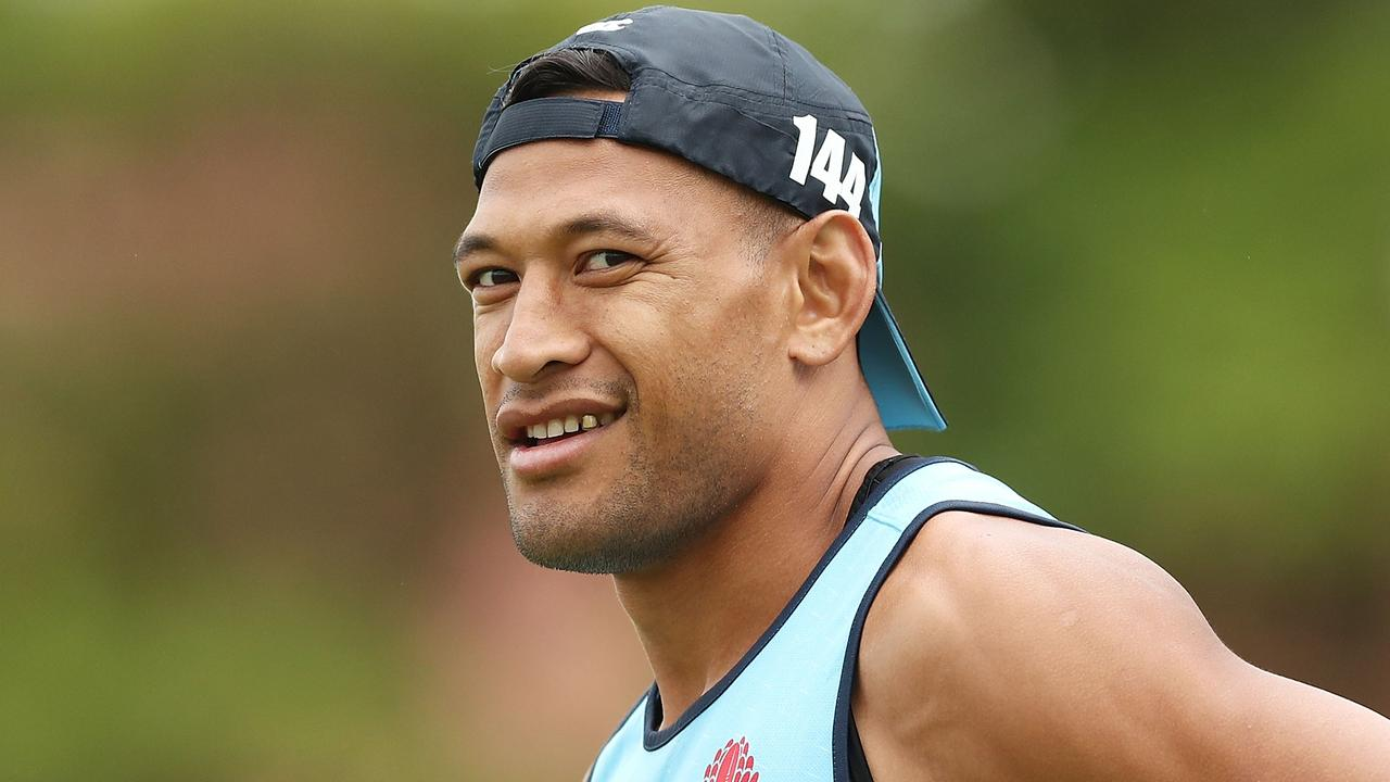 Israel Folau looks on during a Waratahs Super Rugby training session.