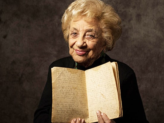 Lena Goldstein with the diary she wrote while living in a bunker as war raged outside.