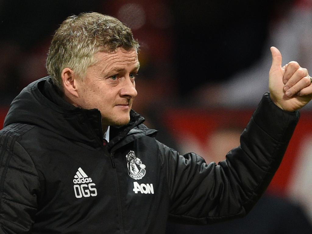 Manchester United's Norwegian manager Ole Gunnar Solskjaer gesture at the end of the English Premier League football match between Manchester United and Norwich City at Old Trafford in Manchester, north west England, on January 11, 2020. (Photo by Oli SCARFF / AFP) / RESTRICTED TO EDITORIAL USE. No use with unauthorized audio, video, data, fixture lists, club/league logos or 'live' services. Online in-match use limited to 120 images. An additional 40 images may be used in extra time. No video emulation. Social media in-match use limited to 120 images. An additional 40 images may be used in extra time. No use in betting publications, games or single club/league/player publications. /