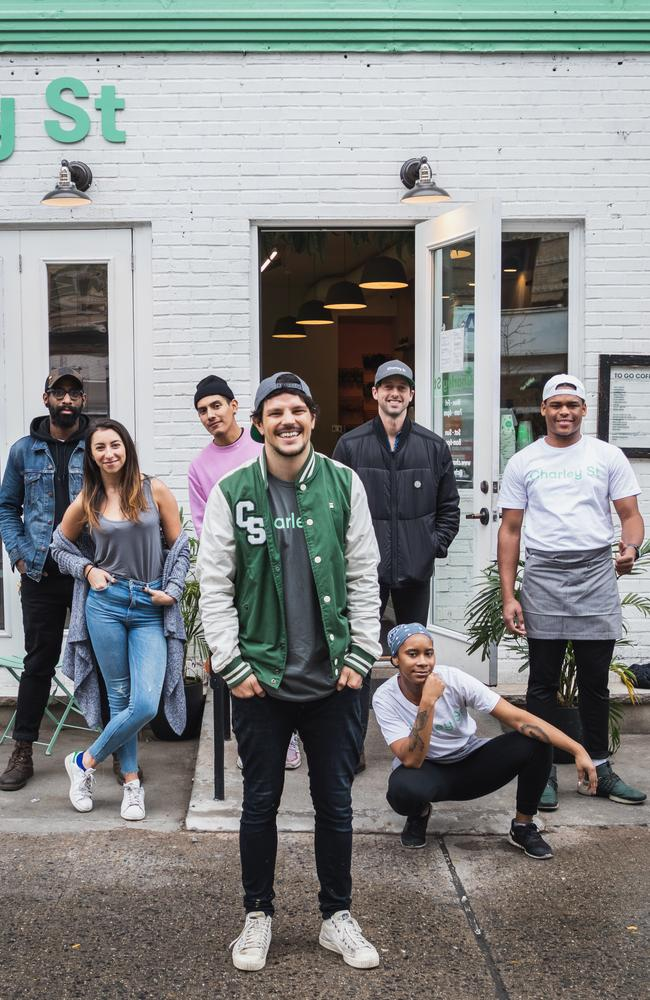 Dan Churchill, centre, and the staff at Charley St in New York's Nolita neighbourhood. Picture: Supplied