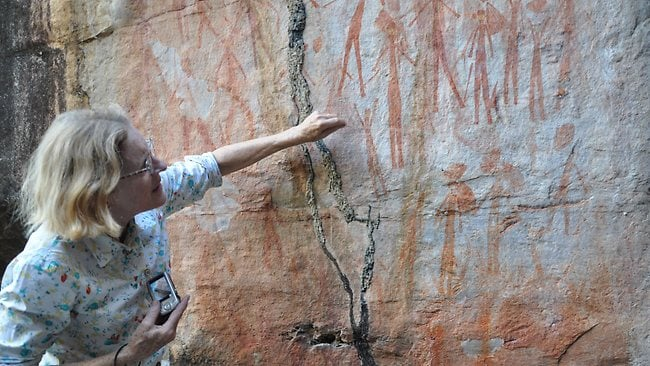 Kimberley Foundation Chairwoman Maria Myers Infront Of Bradshaw Gwion Rock Art