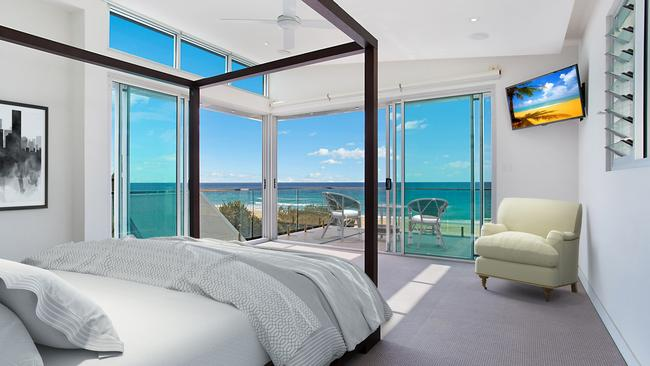 One of the bedrooms in the home at 223 Hedges Ave, Mermaid Beach.